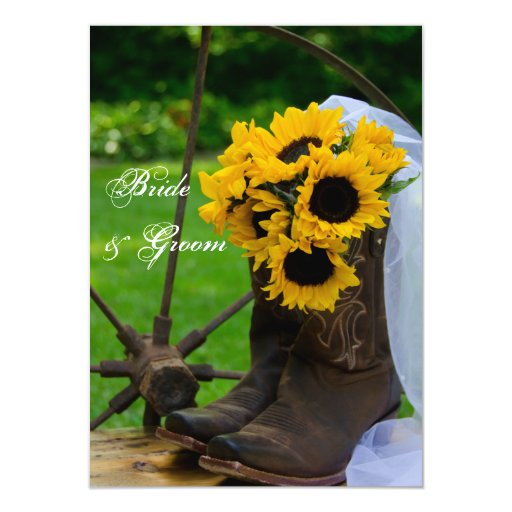 Rustic Sunflowers Country Wedding Flat Notes 4.5x6.25 Paper Invitation Card