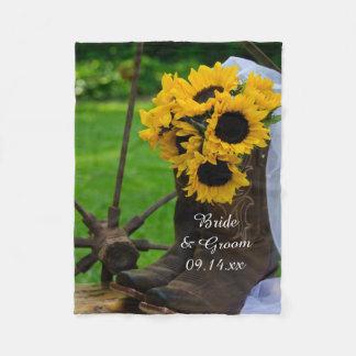Rustic Sunflowers Country Wedding Fleece Blanket