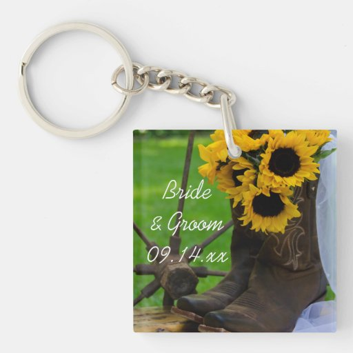 Rustic Sunflowers Country Wedding Keychain Square Acrylic Keychains