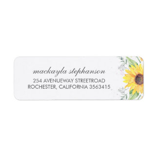 Rustic Sunflowers Country Wedding Label
