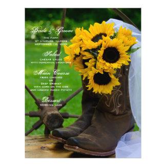 Rustic Sunflowers Country Wedding Menu Flyer Design