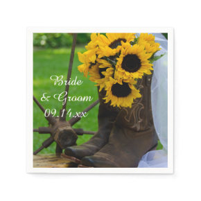 Rustic Sunflowers Country Wedding Paper Napkins
