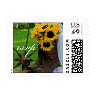 Rustic Sunflowers Country Wedding RSVP Stamp