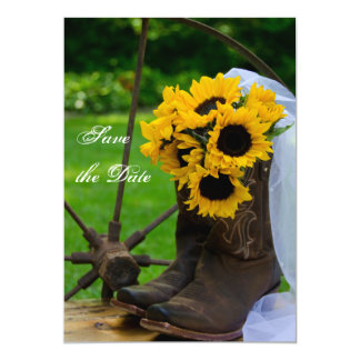 Rustic Sunflowers Country Wedding Save the Date 5x7 Paper Invitation Card