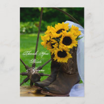Rustic Sunflowers Country Wedding Thank You Notes