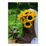 Rustic Sunflowers Country Wedding Thank You Notes Announcements