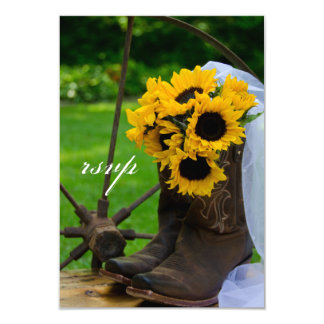 Rustic Sunflowers Cowboy Boot Country Wedding RSVP Card