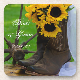 Rustic Sunflowers Cowboy Boots Country Wedding Beverage Coaster