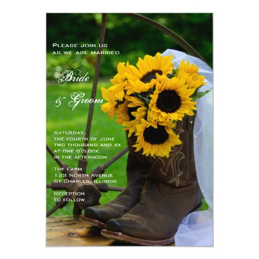 Rustic Sunflowers Cowboy Boots Country Wedding 5x7 Paper Invitation Card