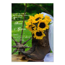 Rustic Sunflowers Cowboy Boots Rehearsal Dinner Invitation