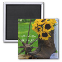 Rustic Sunflowers Cowboy Boots Save the Date Magnet