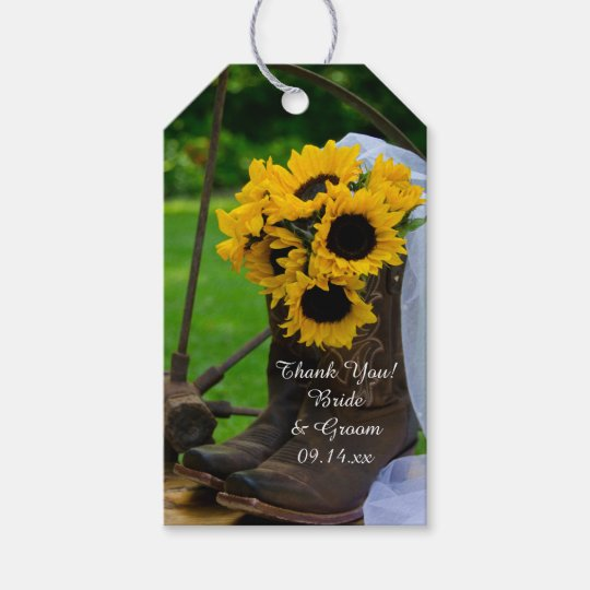 2bcf46f8052 Rustic Sunflowers Cowboy Boots Wedding Favor Tags