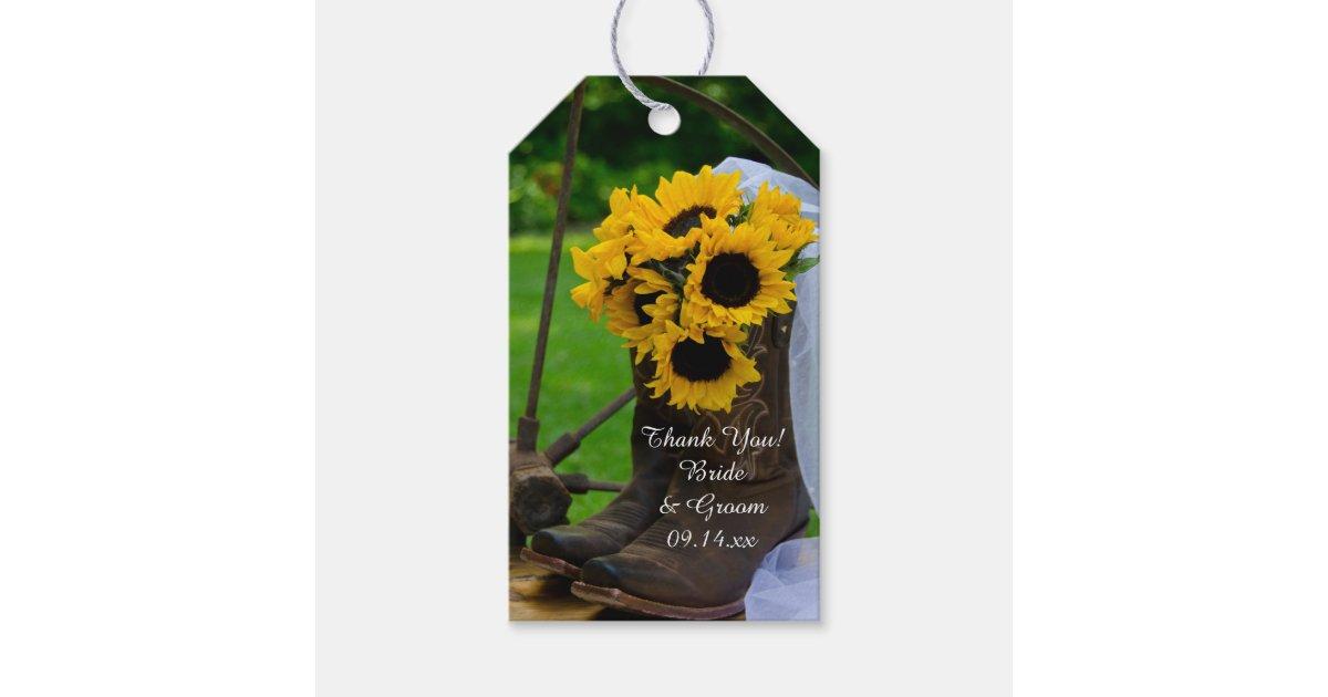 fa70121443f Rustic Sunflowers Cowboy Boots Wedding Favor Tags | Zazzle.com