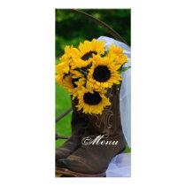 Rustic Sunflowers Cowboy Boots Wedding Menu