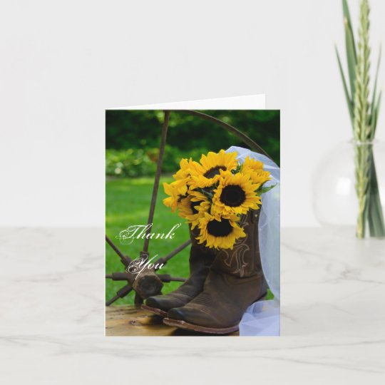 fd949f4d335 Rustic Sunflowers Cowboy Boots Wedding Thank You