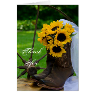 Rustic Sunflowers Cowboy Boots Wedding Thank You Stationery Note Card