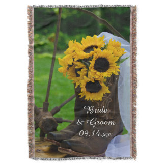 Rustic Sunflowers Cowboy Boots Western Wedding Throw Blanket