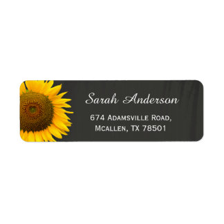 Rustic Sunflowers Elegant Chalkboard RSVP Reply Label