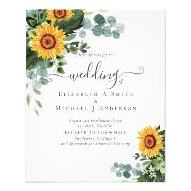 Rustic Sunflowers Eucalyptus Leaves Wedding Flyer