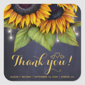 Rustic sunflowers fall favor thank you wedding square sticker