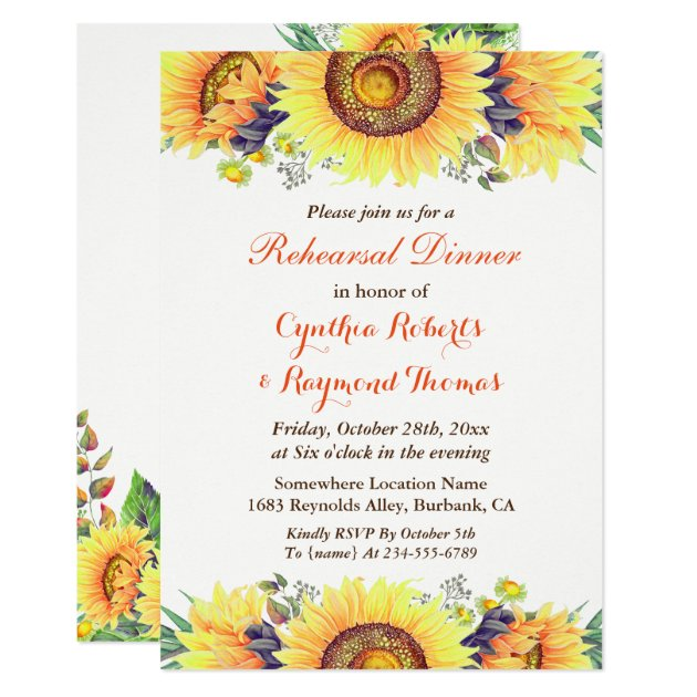Rustic Sunflowers Floral Wedding Rehearsal Dinner Card