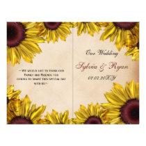 Rustic, sunflowers, folded , fall Wedding program