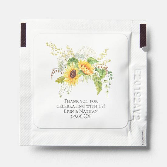 Rustic Sunflowers & Greenery Wedding Favors Hand Sanitizer Packet
