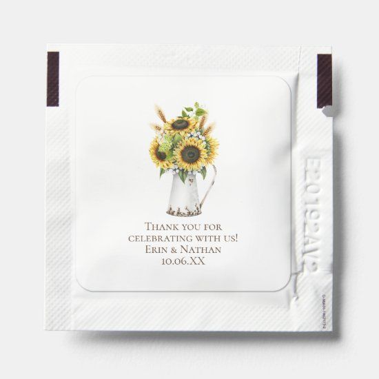 Rustic Sunflowers in Metal Pitcher Wedding Favors Hand Sanitizer Packet