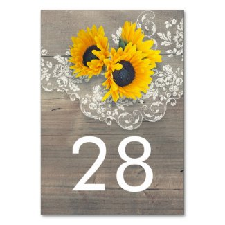Rustic Sunflower and Lace Table Numbers