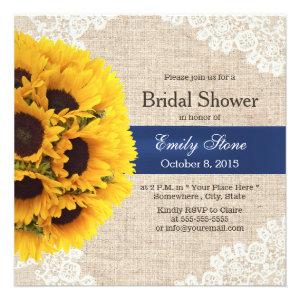 Rustic Sunflowers Lace & Burlap Bridal Shower Custom Invitation