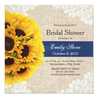 Rustic Sunflowers Lace & Burlap Bridal Shower 5.25x5.25 Square Paper Invitation Card