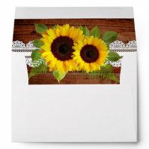 Rustic Sunflowers Lace Wedding Envelope