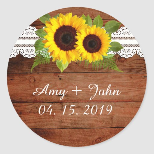 Rustic Sunflowers Lace Wedding Stickers