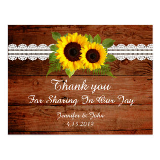 Rustic Sunflowers Lace Wedding Thank you Postcard