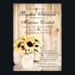 "Rustic Sunflowers Mason Jar Bridal Shower Invites<br><div class=""desc"">Rustic Country Sunflowers in Mason Jar Bridal Shower Invitations with a barn wood background.  These are great for country style bridal showers.  Just add your bridal shower info to the template.  The back side also has the mason jar and sunflower design.</div>"