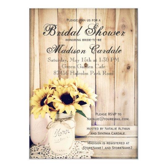 Rustic Sunflowers Mason Jar Bridal Shower Invites