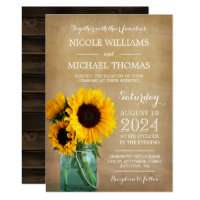 Rustic Sunflowers Mason Jar Country Wedding Card