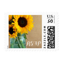 Rustic Sunflowers Mason Jar Country Wedding RSVP Postage