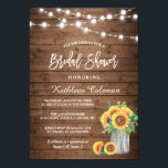 """Rustic Sunflowers Mason Jar Lights Bridal Shower Card<br><div class=""""desc"""">Create the perfect invite with this &quot;Rustic Sunflowers Mason Jar String Lights Bridal Shower Invitation&quot; template. This high-quality design is easy to customize to be uniquely yours! (1) For further customization, please click the &quot;Customize&quot; button and use our design tool to modify this template. All text style, colors, sizes can...</div>"""