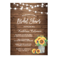 Sunflower bridal shower invitations announcements zazzle rustic sunflowers mason jar lights bridal shower filmwisefo Images