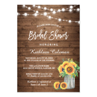 Rustic Sunflowers Mason Jar Lights Bridal Shower Invitation