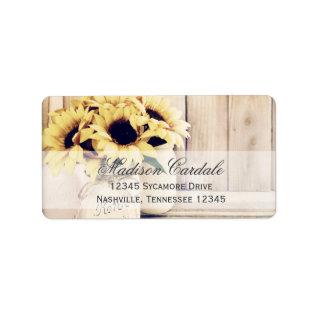Rustic Sunflowers Mason Jar Return Address Label at Zazzle