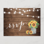 """Rustic Sunflowers Mason Jar String Lights RSVP Invitation Postcard<br><div class=""""desc"""">================= ABOUT THIS DESIGN =================  Rustic Sunflowers Mason Jar String Lights RSVP Reply Card.  (1) For further customization,  please click the &quot;Customize&quot; button and use our design tool to modify this template. (2) If you need help or matching items,  please contact me.</div>"""