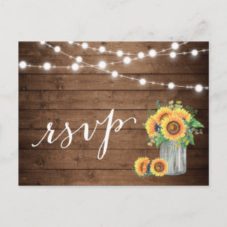 Rustic Sunflowers Mason Jar String Lights RSVP Invitation Postcard