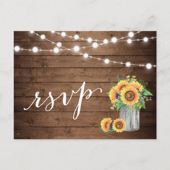 Rustic Sunflowers Mason Jar String Lights RSVP Invitation Postcard