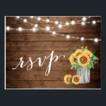 "Rustic Sunflowers Mason Jar String Lights RSVP Postcard<br><div class=""desc"">================= ABOUT THIS DESIGN ================= 