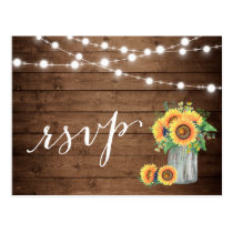 Rustic Sunflowers Mason Jar String Lights RSVP Postcard