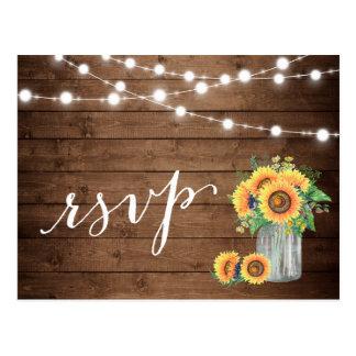 Rustic Sunflowers Mason Jar String Lights RSVP Postcard