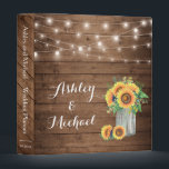 """Rustic Sunflowers Mason Jar String Lights Wedding Binder<br><div class=""""desc"""">================= ABOUT THIS DESIGN ================= Rustic Sunflowers Mason Jar String Lights Wedding Planner Binder. (1) For further customization, please click the &quot;Customize&quot; button and use our design tool to modify this template. All text style, colors, sizes can be modified to fit your needs. (2) If you need help or matching...</div>"""