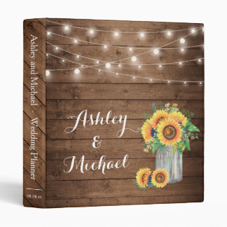 Rustic Sunflowers Mason Jar String Lights Wedding Binder